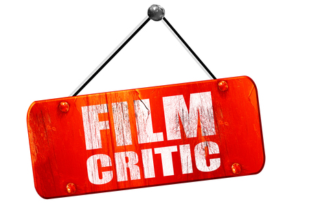 critic: film critic, 3D rendering, red grunge vintage sign