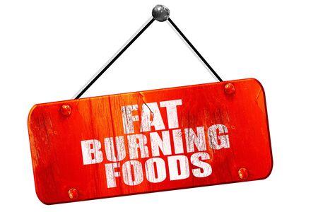 fat burning: fat burning foods, 3D rendering, red grunge vintage sign