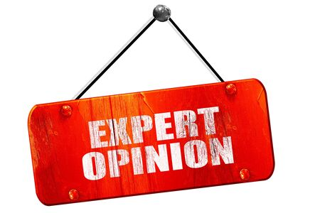 opinion: expert opinion, 3D rendering, red grunge vintage sign Stock Photo