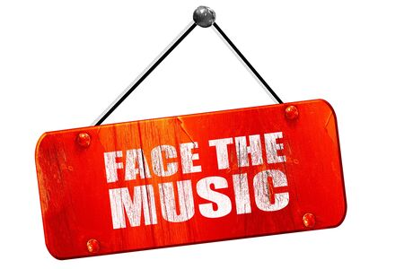 music 3d: face the music, 3D rendering, red grunge vintage sign