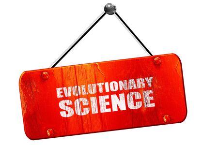 evolutionary: evolutionary science, 3D rendering, red grunge vintage sign