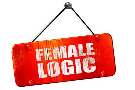logica: la lógica femenina, 3D, muestra de la vendimia del grunge rojo
