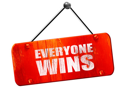 everyone: everyone wins, 3D rendering, red grunge vintage sign