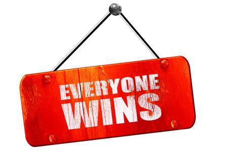 everybody: everyone wins, 3D rendering, red grunge vintage sign
