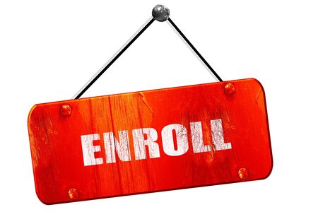 enroll: enroll, 3D rendering, red grunge vintage sign