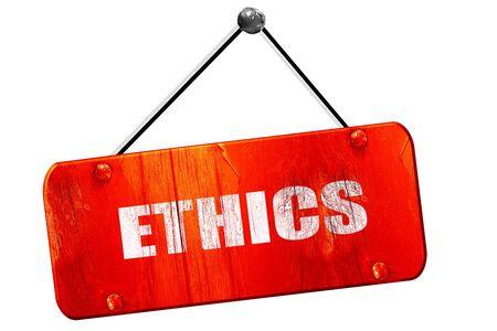 ethos: ethics, 3D rendering, red grunge vintage sign