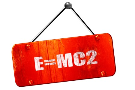mc2: e=mc2, 3D rendering, red grunge vintage sign