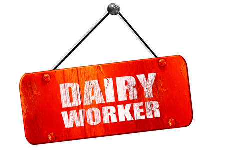 isolation tank: dairy worker, 3D rendering, red grunge vintage sign Stock Photo