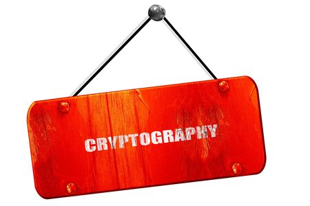 cryptography: cryptography, 3D rendering, red grunge vintage sign Stock Photo