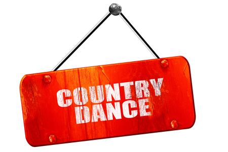 3d dance: country dance, 3D rendering, red grunge vintage sign