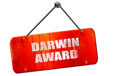 darwin award, 3D rendering, red grunge vintage sign