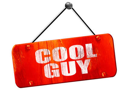 cool guy: cool guy, 3D rendering, red grunge vintage sign