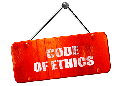 work ethic responsibilities: code of ethics, 3D rendering, red grunge vintage sign