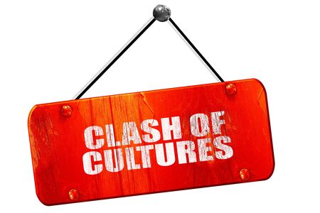clash: clash of cultures, 3D rendering, red grunge vintage sign