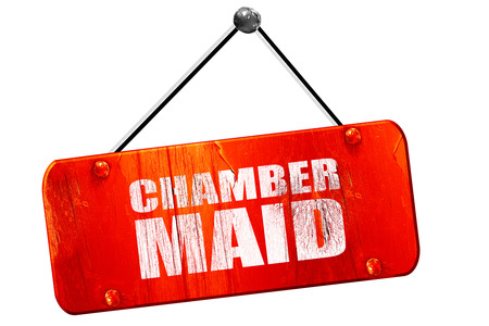 roomservice: chamber maid, 3D rendering, red grunge vintage sign