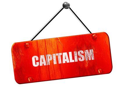 capitalismo: capitalismo, 3D, muestra de la vendimia del grunge rojo