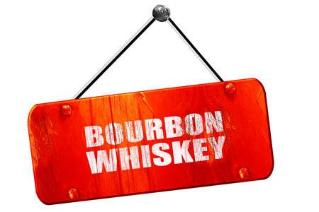 bourbon: bourbon whiskey, 3D rendering, red grunge vintage sign Stock Photo