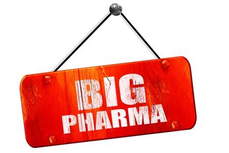 pharma: big pharma, 3D rendering, red grunge vintage sign