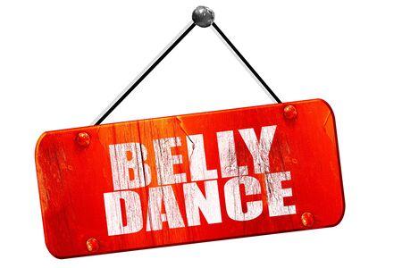 3d dance: belly dance, 3D rendering, red grunge vintage sign