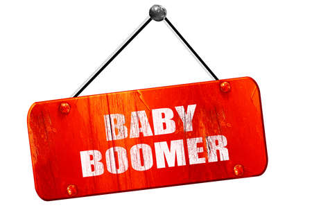 baby boomer: baby boomer, 3D rendering, red grunge vintage sign
