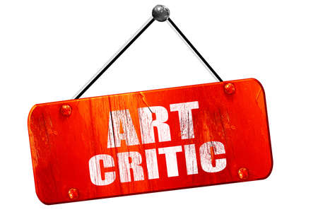 critic: art critic, 3D rendering, red grunge vintage sign Stock Photo