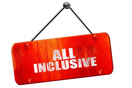 inclusive: all inclusive, 3D rendering, red grunge vintage sign Stock Photo