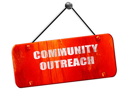 community outreach: Community outreach sign with some smooth lines, 3D rendering, red grunge vintage sign