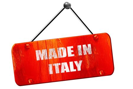 made in italy: Made in italy, 3D rendering, red grunge vintage sign Stock Photo