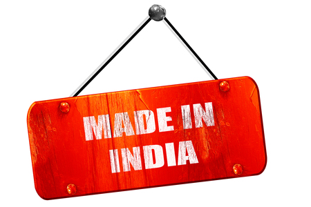 india 3d: Made in india, 3D rendering, red grunge vintage sign Stock Photo