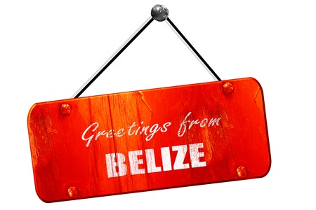 tourism in belize: Greetings from belize card with some soft highlights, 3D rendering, red grunge vintage sign Stock Photo