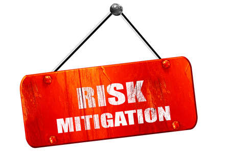 mitigation: Risk mitigation sign, 3D rendering, red grunge vintage sign Stock Photo