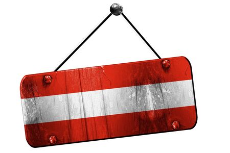 austrian: Austrian flag, 3D rendering, grunge old sign on a rope