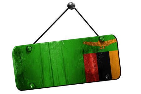 zambia flag: Zambia flag, 3D rendering, grunge old sign on a rope
