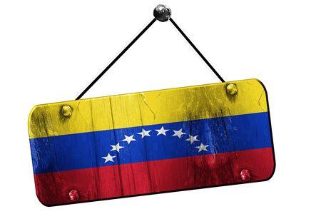 bandera de venezuela: bandera de Venezuela, 3D, grunge antiguo letrero en una cuerda