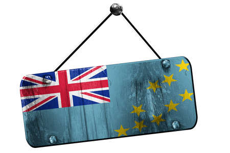 tuvalu: Tuvalu flag, 3D rendering, grunge old sign on a rope Stock Photo