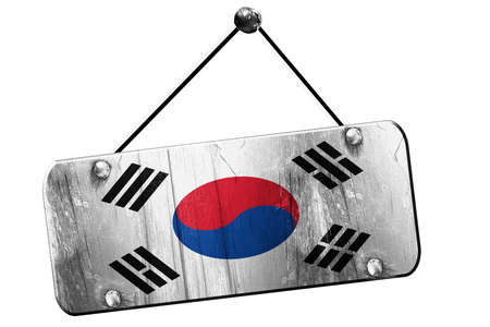 old sign: South korea flag, 3D rendering, grunge old sign on a rope Stock Photo