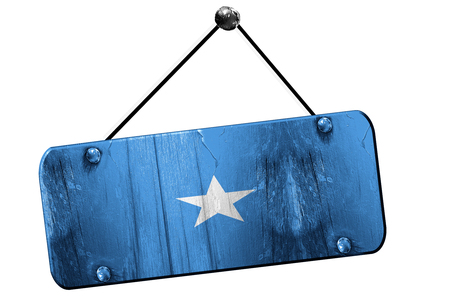 somalian culture: Somalia flag, 3D rendering, grunge old sign on a rope Stock Photo