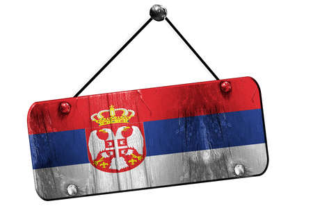 serbia flag: Serbia flag, 3D rendering, grunge old sign on a rope Stock Photo