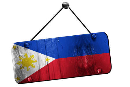 philippino: Philippines flag, 3D rendering, grunge old sign on a rope