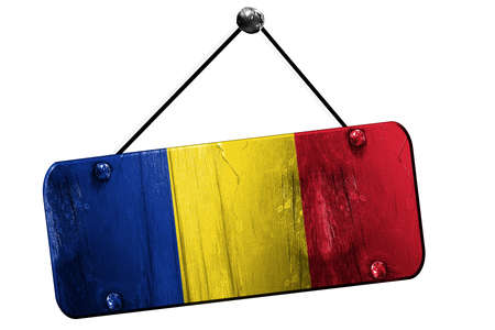 romania flag: Romania flag, 3D rendering, grunge old sign on a rope