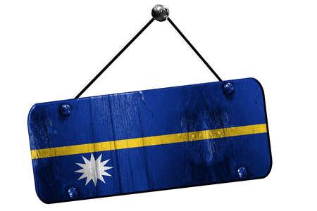 nauru: Nauru flag, 3D rendering, grunge old sign on a rope