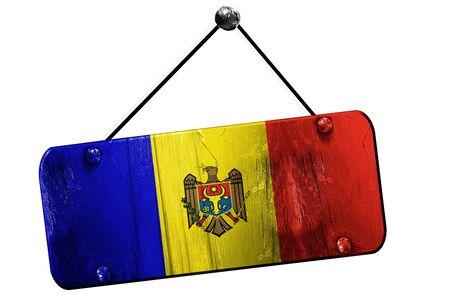 moldovan: Moldova flag, 3D rendering, grunge old sign on a rope
