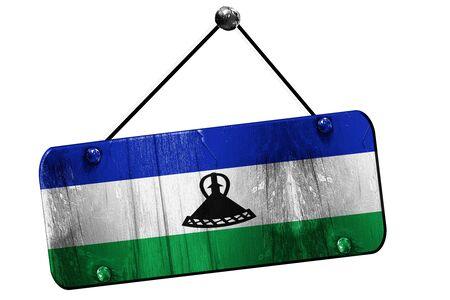 lesotho: Lesotho flag, 3D rendering, grunge old sign on a rope