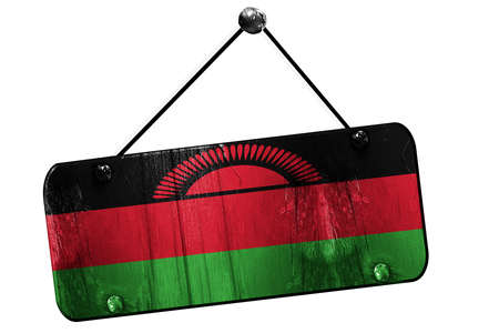 malawi flag: Malawi flag, 3D rendering, grunge old sign on a rope