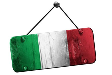 italy background: Italy flag, 3D rendering, grunge old sign on a rope
