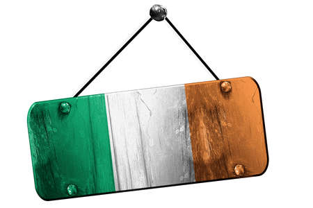 irish culture: Irealand flag, 3D rendering, grunge old sign on a rope