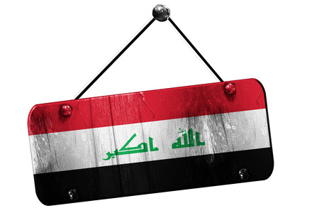 iraq flag: Iraq flag, 3D rendering, grunge old sign on a rope