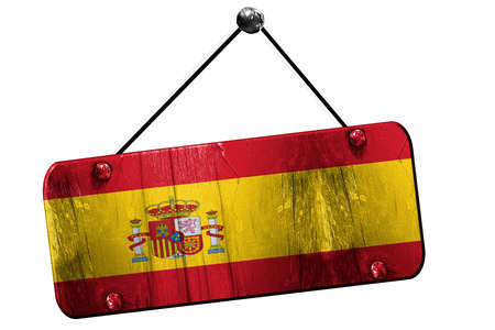 spanish flag: Spanish flag, 3D rendering, grunge old sign on a rope