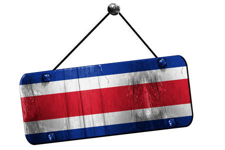 rican: Costa Rica flag, 3D rendering, grunge old sign on a rope Stock Photo