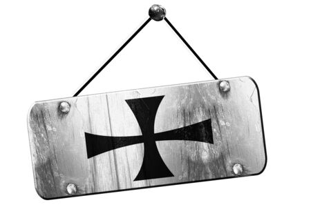 teutonic: Teutonic knights with some soft highlights and folds, 3D rendering, old vintage hanging sign